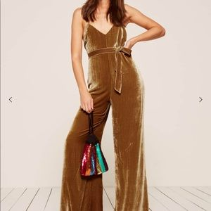 Reformation Moonstone Gold Velvet Jumpsuit